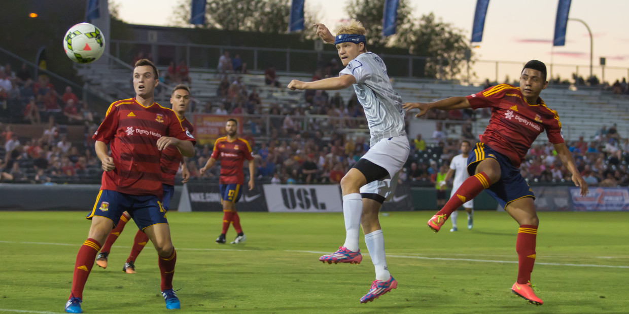 Austin Aztex forward Kris Tyrpak scores header