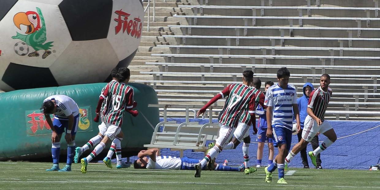 Fluminense FC players celebrate Felipe Sampaio's 80th minute goal against FC Dallas Sunday in the Cotton Bowl. Photo by David Chaffin