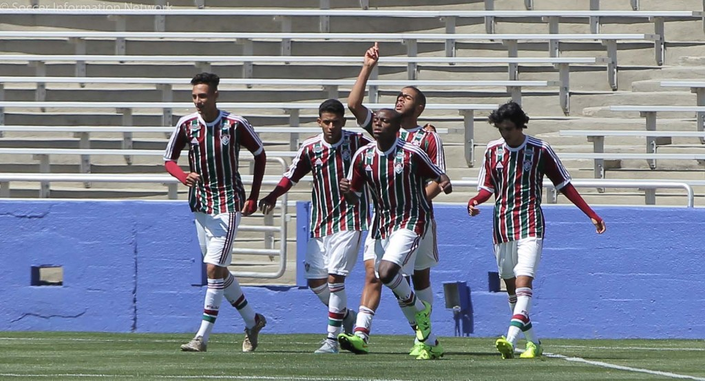 Fluminense FC players celebrate Felipe Sampaio's 80th minute goal against FC Dallas. Photo by David Chaffin