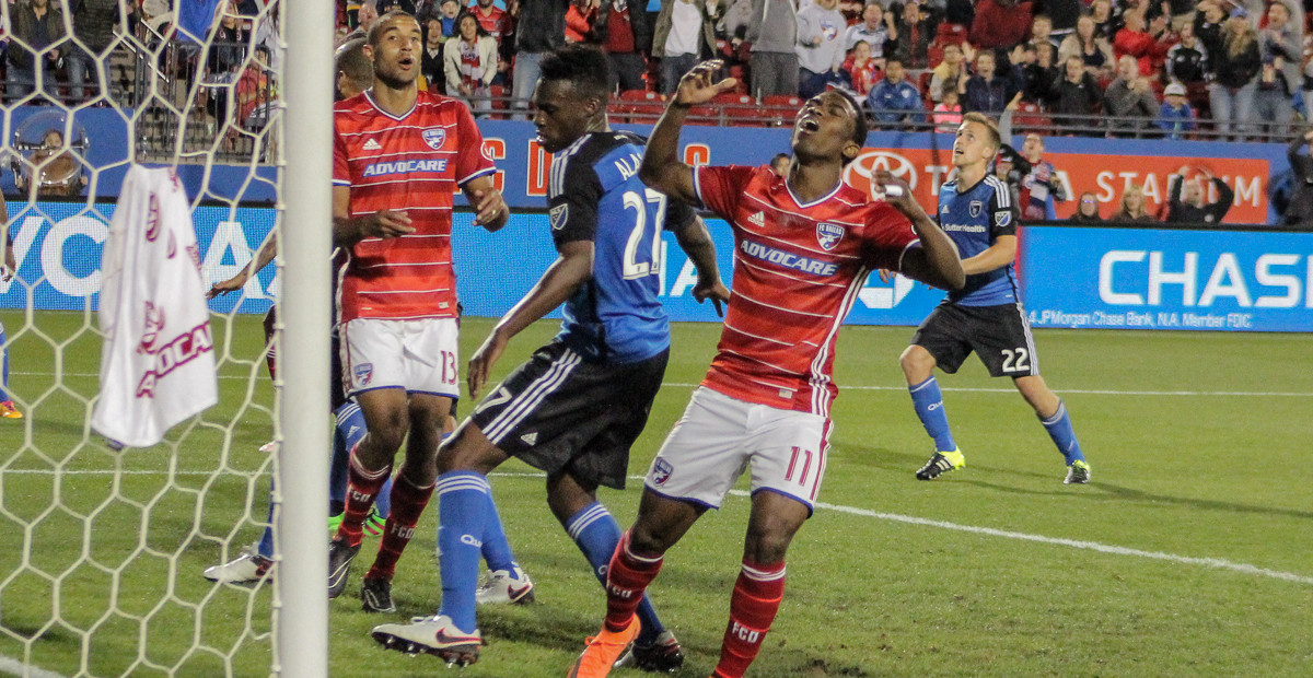 Fabian Castillo reacts to missing a chance at a goal in the 2nd half of FC Dallas v San Jose. Photo by David Chaffin for Soccer Information Network.